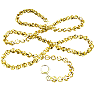 Antique Victorian Era 14 Karat Yellow Gold Neck Chain, Necklace (22.5 inches long)