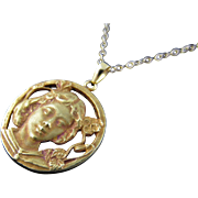 Vintage 20 Karat Gold Pendant of Girl (with chain)