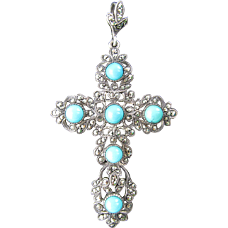 Vintage Silver Marcasite Cross with Cabochon Turquoise