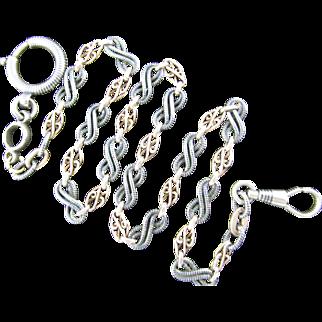 Hallmarked Antique Niello and Pink Gold Neckchain or Watch Chain, 18 Inch