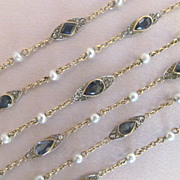 French Victorian Necklace with Natural Sapphires, Rose Cut Diamonds, and Pearls in Platinum and 18 Karat Gold