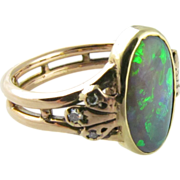 Opal and Diamond Ring in 14K Yellow and Pink Gold