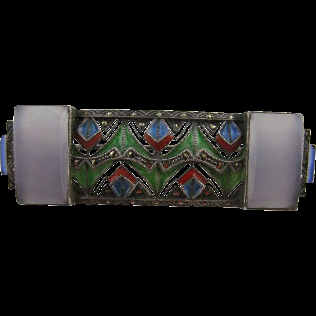 Art Nouveau Plique-a-Jour Brooch in 935 Silver