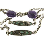 Art Nouveau Plique-a-Jour Neck Chain With Amethyst Stones, 57 Inches Long with Watch Hook
