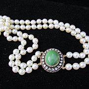 Victorian Cultured Pearl Necklace with Fancy Rose Cut Diamond Clasp