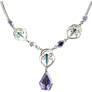 Plique a Jour Sterling Silver Amethyst Necklace, circa 1920