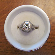 Circa 1920 Brilliant Diamond Ring in 18 Karat Gold with Appraisal