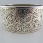 Victorian Sterling Silver Wide Hand Engraved Bracelet