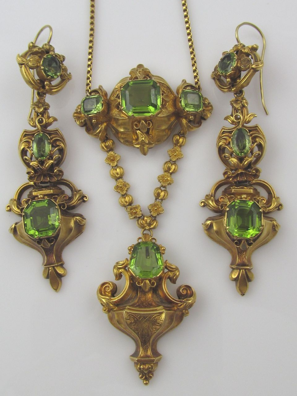 Georgian Era Boxed Set Of Earrings And Pendant Necklace Featuring Natural  Peridot Stones Set In 14 Karat Gold