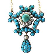 "9KYG Victorian Turquoise and Pearl Necklace on a 15"" YG Chain"