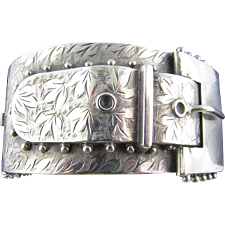 Hallmarked Antique Victorian Hand Engraved Bangle with Buckle Motif in Sterling