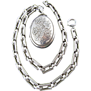 Antique Victorian Locket and Book Chain in Sterling Silver (British Hallmark)