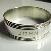 Vintage Sterling Silver Napkin Ring Monogrammed JOHN