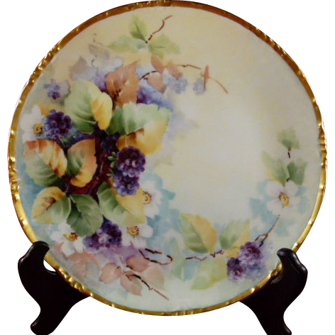 Hand Painted Bavaria 9 Inch Plate Rosenthal Mark Berries