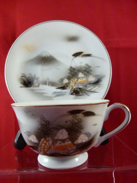 Kutani Hand Painted China Cup & Saucer with Oriental Design