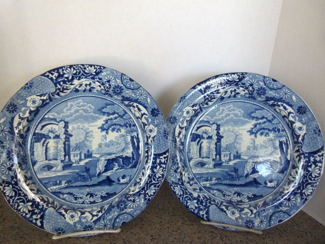 "Pair of Fabulous 10"" Blue Transfer Plates c. 1830"