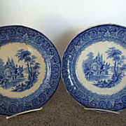 Pair of Moselle Blue Transfer Plates by William Emberton c. 1851-1869