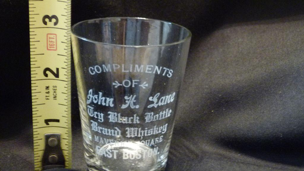 Vintage Whiskey Glass Black Bottle Brand John Lane East Boston