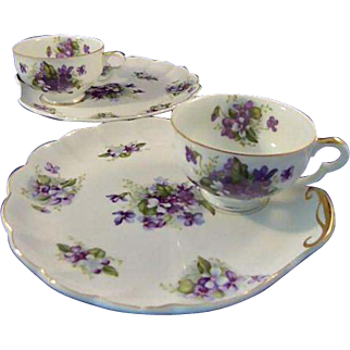 Two Tea and Toast Sets Violets