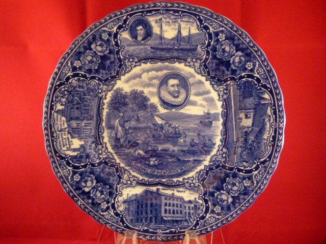 Hendrik Hudson Historical Blue Transfer Staffordshire Plate