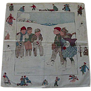 Vintage Child's Hanky with children playing in the snow by B. Cory Kilvert