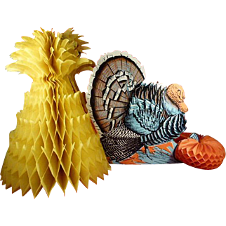Vintage Thanksgiving Table Centerpiece Turkey Pumpkin Cornstalk
