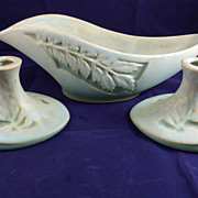 Roseville Silhouette Console Bowl and Pair of Candle Holders