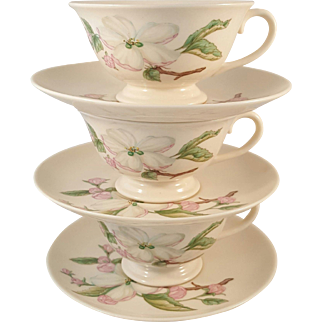 Franciscan Fine China Chelan Pattern 3 Cups and Saucers Made in California