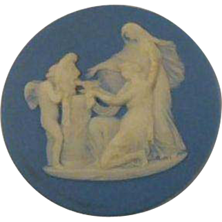 Antique Wedgwood Blue Jasperware Round Medallion Plaque Cupid as Oracle