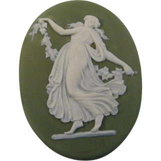 Antique Wedgwood Green Jasperware Oval Medallion Plaque