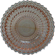 Pink Depression Glass Round Serving Bowl c.1940's Holiday Buttons & Bows by Jeannette Glass Co. 8.5 inches