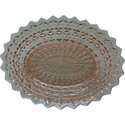 Pink Depression Glass Oval Serving Bowl c.1940's Holiday Buttons & Bows by Jeannette Glass Co. 9.5 x 7.5 inches