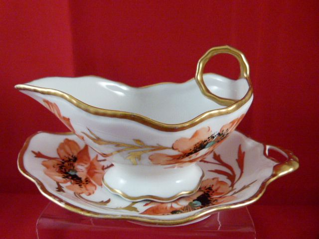 Limoges Poppy Sauce Boat - 2 pieces