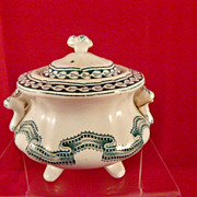 c. 1861 J & R Godwin Rippled Ribbon Band Child's English Toy China Sugar Bowl