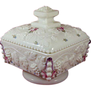 Vintage Westmoreland Milk Glass Covered Box Hand Painted