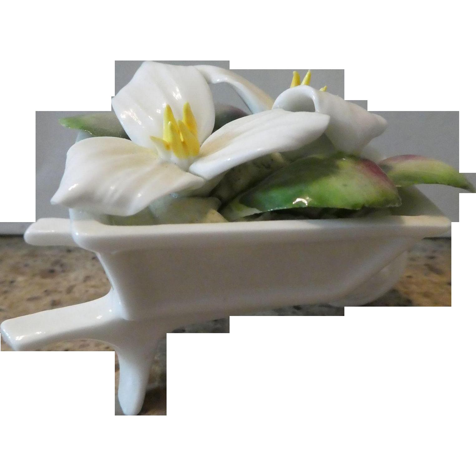Royal Albert Bone China Wheelbarrow With Trillium Flowers
