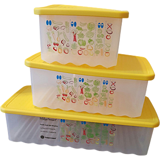 Set of 3 Tupperware Fridge Smart Sunny Yellow Containers