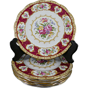 Set of 6 Royal Albert Lady Hamilton 8 Inch Plates