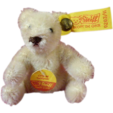 Off White Original Steiff Teddy Bear Seated 3 Inches High