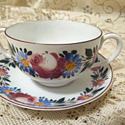 Nippon Hand Painted Cream Soup or Bouillon Cup and Saucer Fine Translucent China