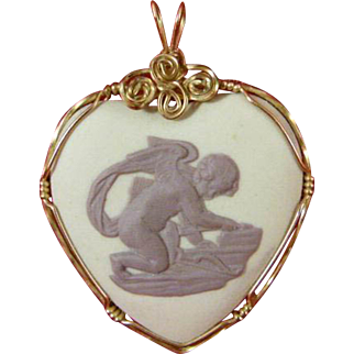 Wedgwood Jasper Ware Heart Shaped Pendant 1977