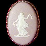 Lilac Wedgwood Jasper Ware Brooch Pin 1961