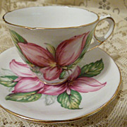 Pink Trillium Cup and Saucer Royal Stafford Bone China England