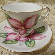 Pink Trillium Cup and Saucer Royal Stafford Bone China England