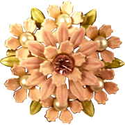 Vintage Lisner Pin Pink Flowers