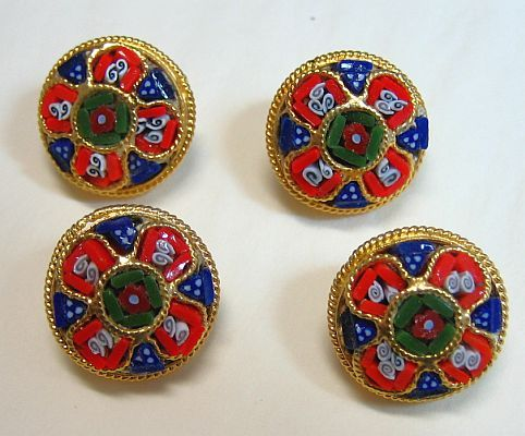Vintage Micro Mosaic Millefiori 4 Buttons - New Old Stock -Rare- Pristine
