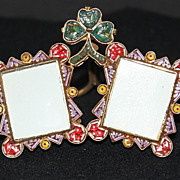 Vintage Micro mosaic Double Picture Frame with Shamrock S1 Pristine & Rare