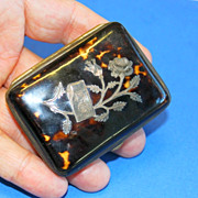 Tortoise Shell Small Snuff Box, Sterling Design and Monogram   - second half 19th Century