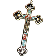 Antique micro mosaic cross - crucifix - Italian grand tour item- 5 - Exquisite design