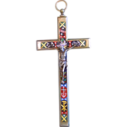 Antique Micro Mosaic Cross - Crucifix – Protect Sailors – Exquisite and Very Rare